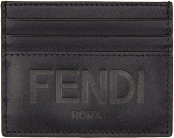 Fendi Black Logo Card Holder