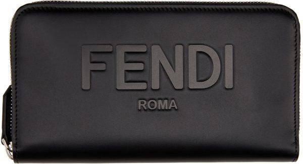 Fendi Black Logo Zip Around Wallet