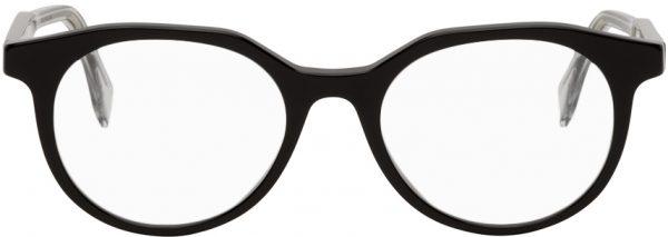 Fendi Black Modified Oval Glasses