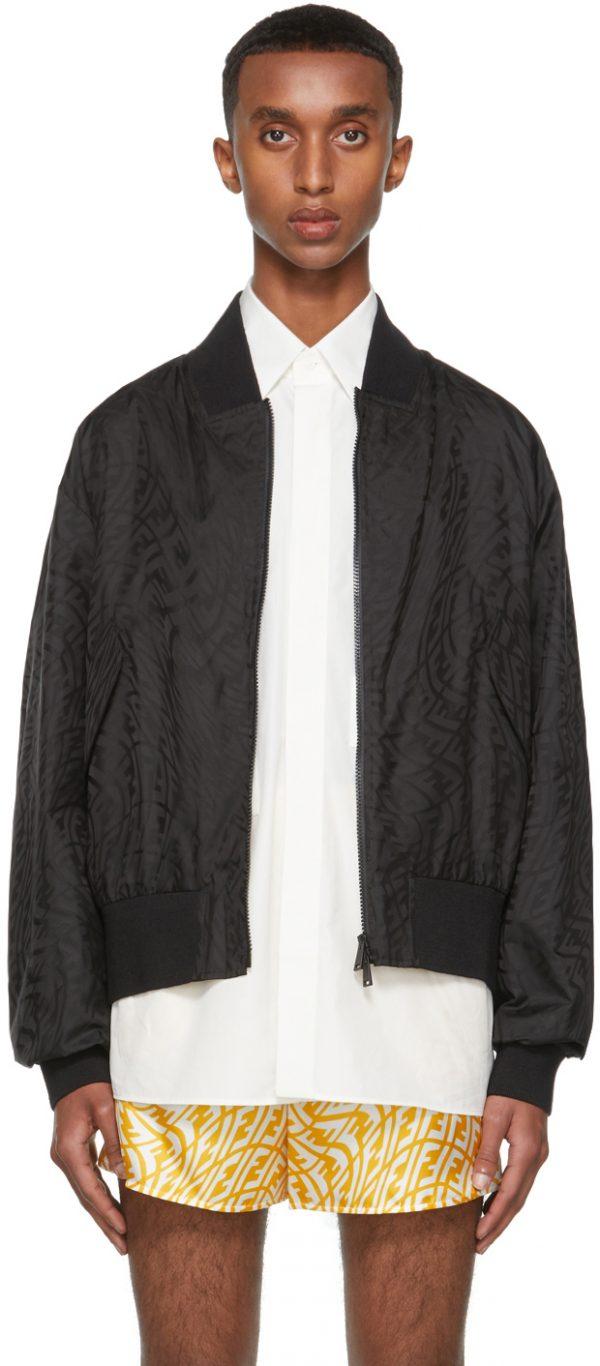 Fendi Black Nylon FF Vertigo Bomber Jacket