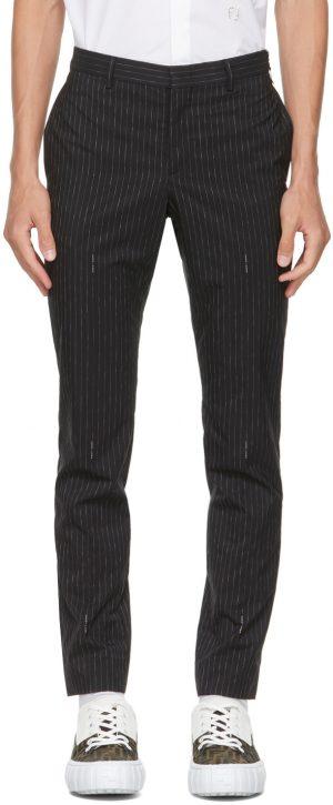Fendi Black Pinstripe Logo Trousers