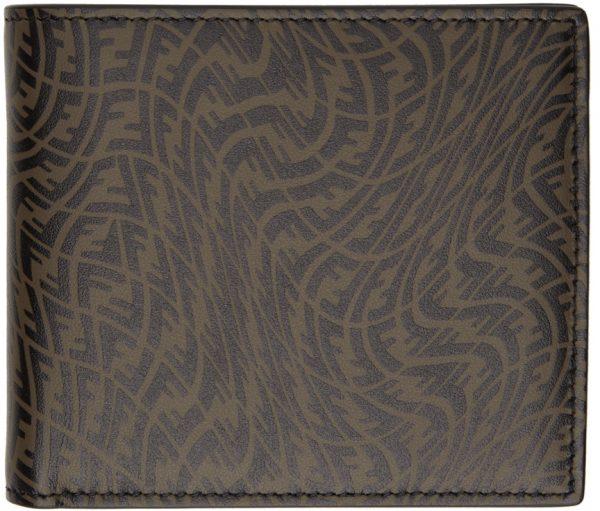 Fendi Black & Brown FF Vertigo Bifold Wallet