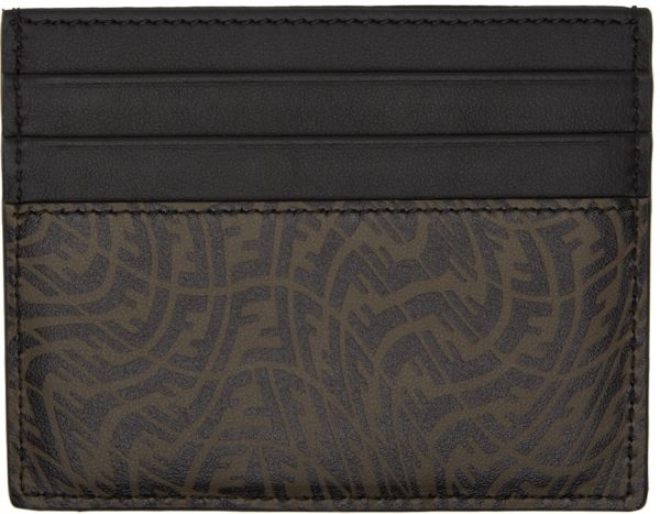 Fendi Black & Brown FF Vertigo Card Holder