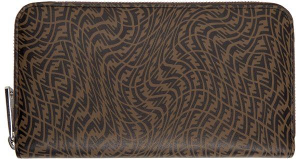 Fendi Black & Brown FF Vertigo Zip-Around Wallet