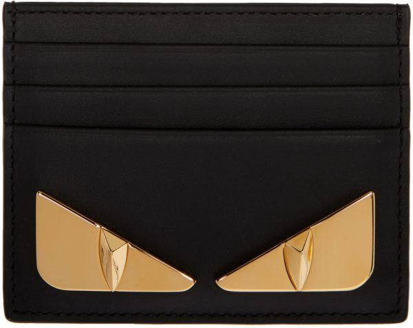 Fendi Black & Gold Bag Bugs Card Holder
