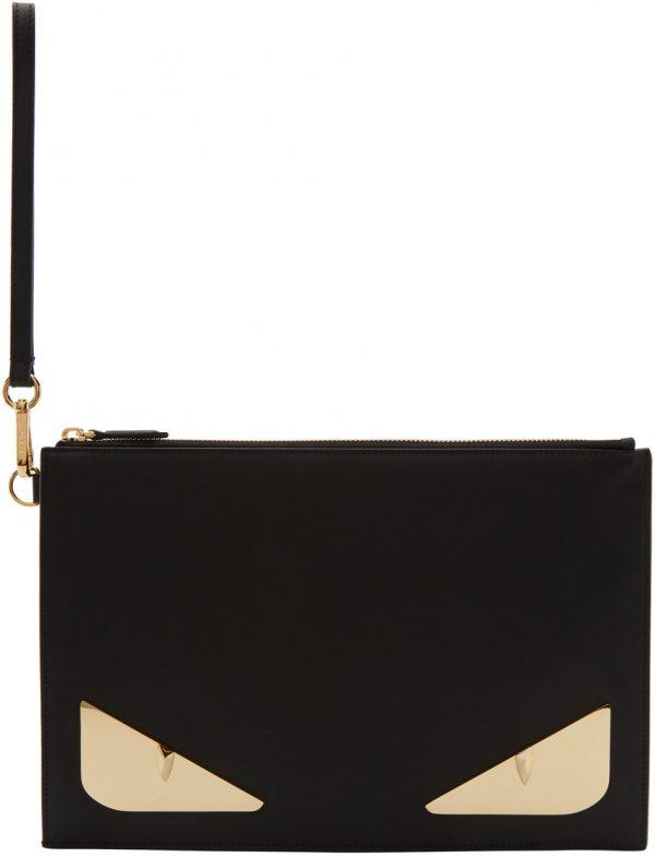 Fendi Black & Gold Bag Bugs Pouch