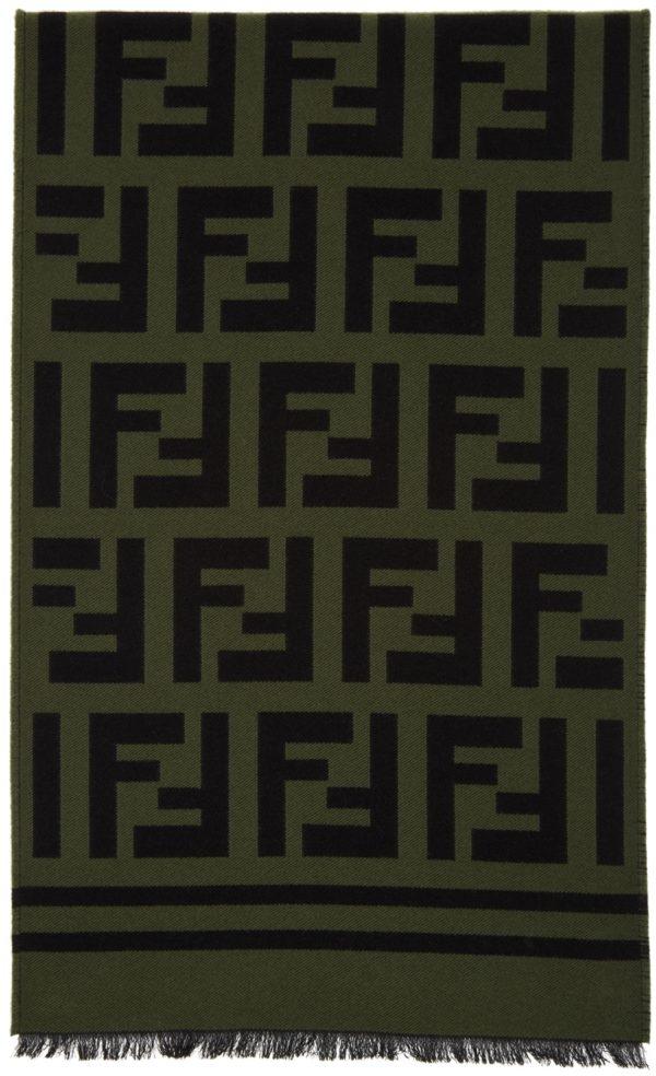 Fendi Black & Green Logo Scarf