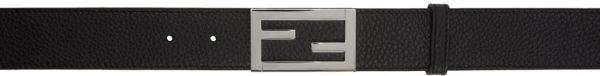 Fendi Black & Silver Leather Belt