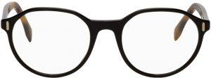 Fendi Black & Tortoiseshell Round Glasses