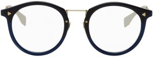 Fendi Black & White Acetate Round Glasses