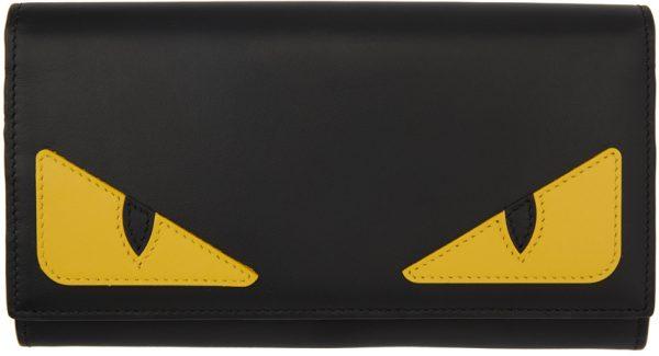 Fendi Black & Yellow Bag Bugs Continental Wallet