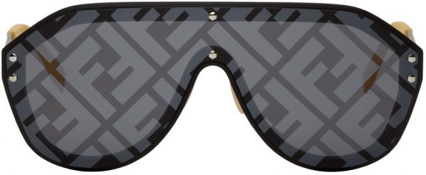 Fendi Black & Yellow 'Fendi Fabulous' Shield Sunglasses