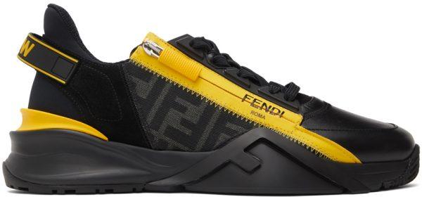 Fendi Black & Yellow Flow Low-Top Sneakers