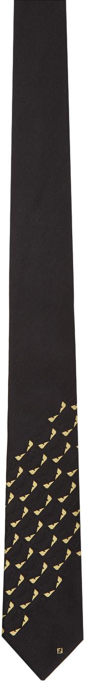 Fendi Black & Yellow Silk Bag Bugs Tie