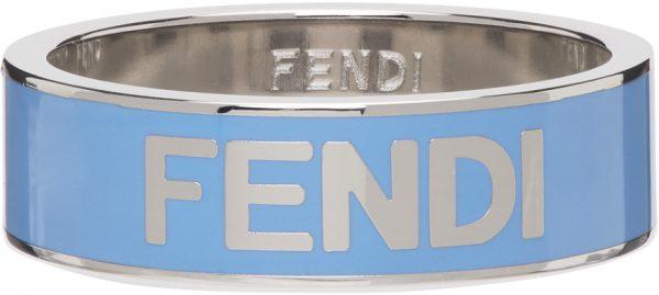 Fendi Blue Logo Ring