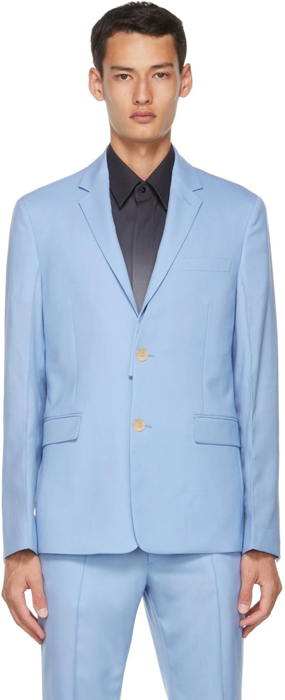 Fendi Blue Virgin Wool Detachable Collar Blazer