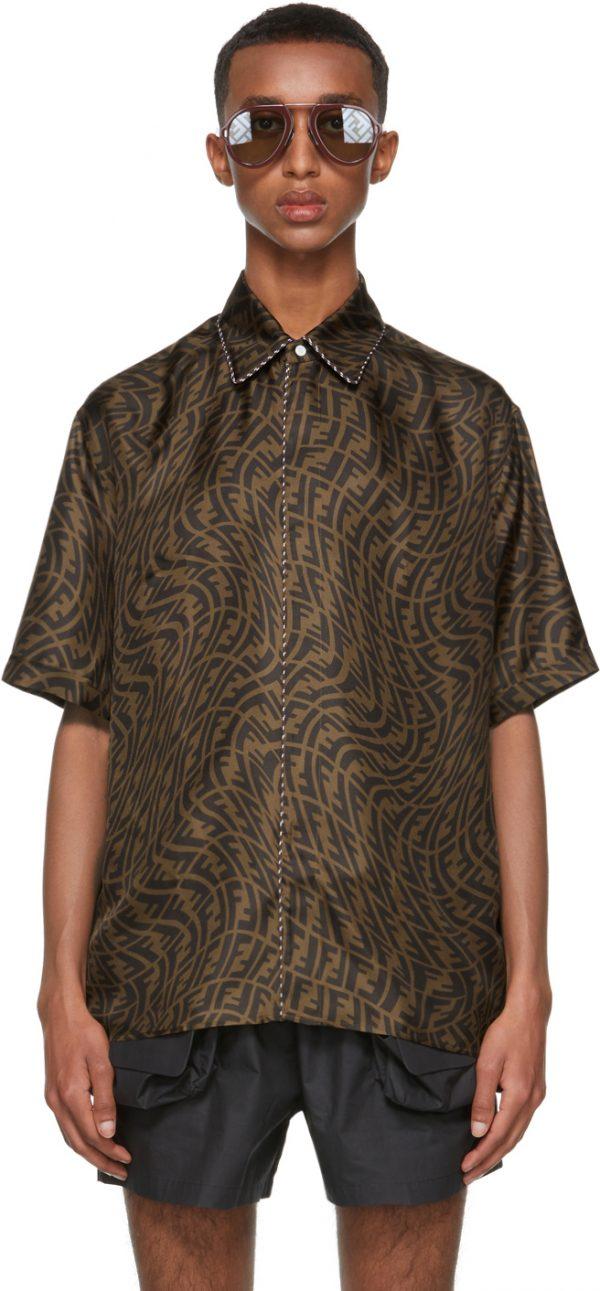 Fendi Brown FF Vertigo Silk Shirt
