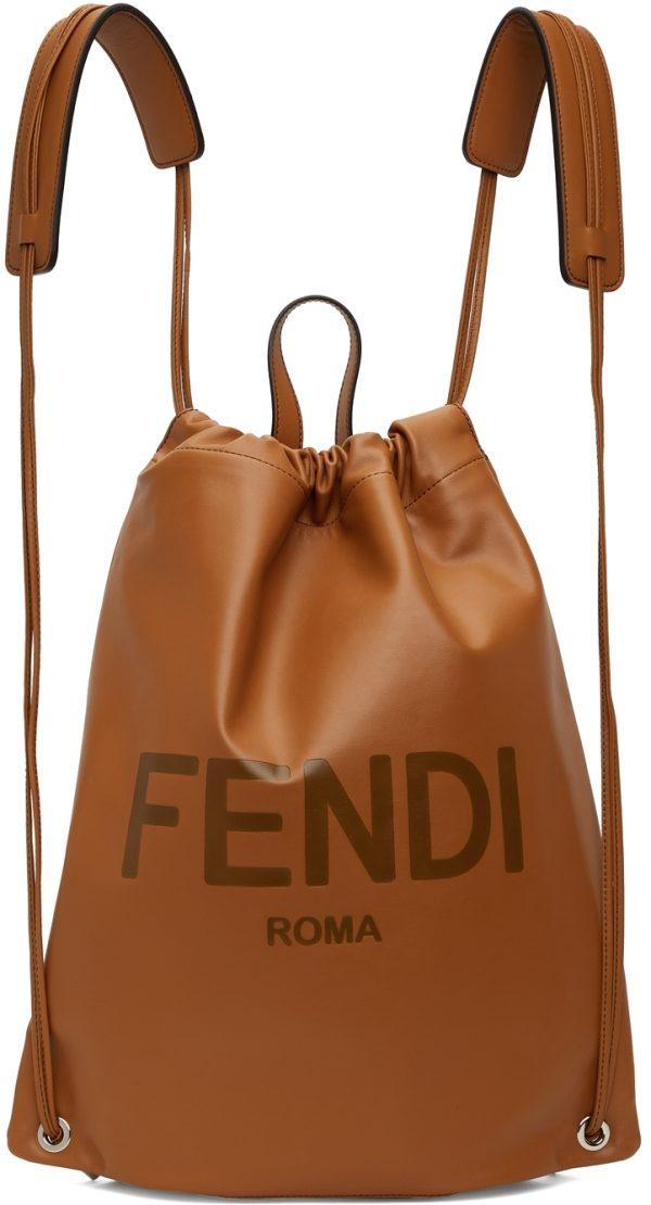 Fendi Brown Leather Logo Backpack