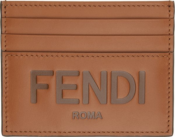 Fendi Brown Logo Card Holder