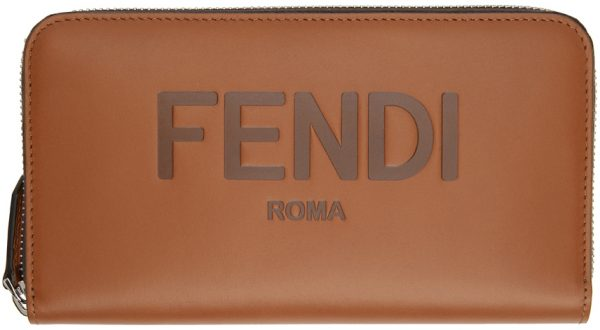 Fendi Brown Logo Continental Wallet