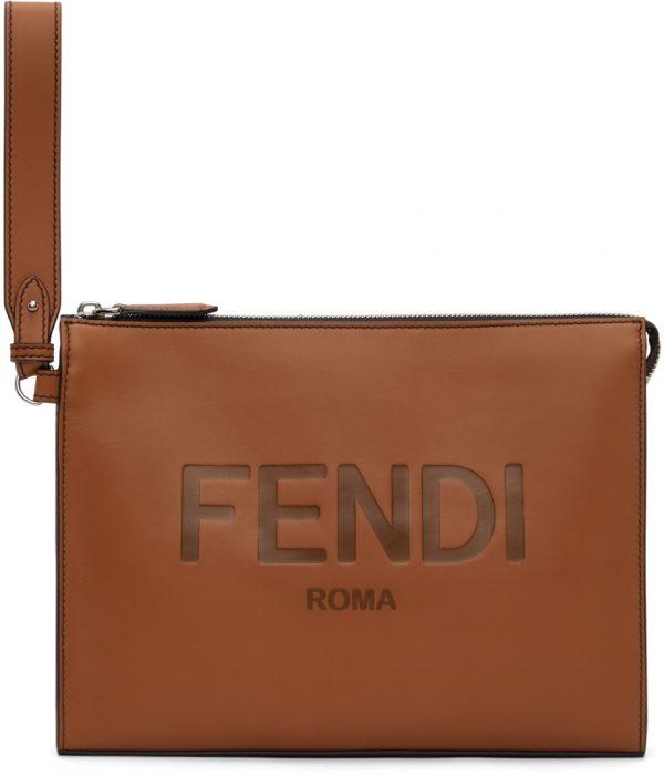 Fendi Brown Logo Flat Pouch