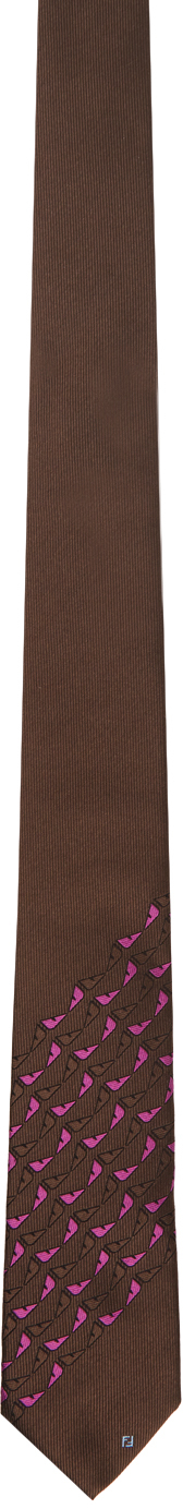 Fendi Brown & Pink Silk Bag Bugs Tie