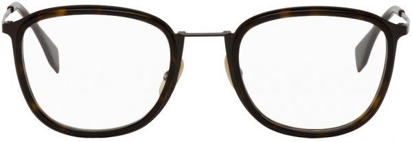 Fendi Brown & Tortoiseshell Rectangular Glasses