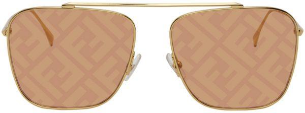 Fendi Gold 'Fendi Fabulous' Navigator Sunglasses