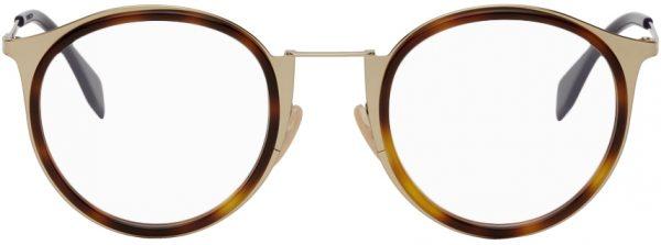 Fendi Gold Modified Oval Glasses