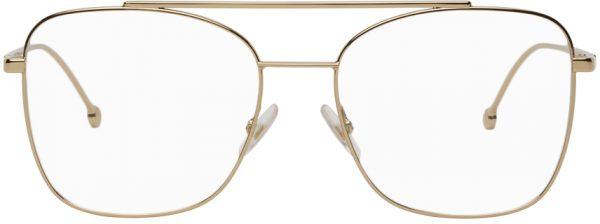 Fendi Gold Rectangular Aviator Glasses