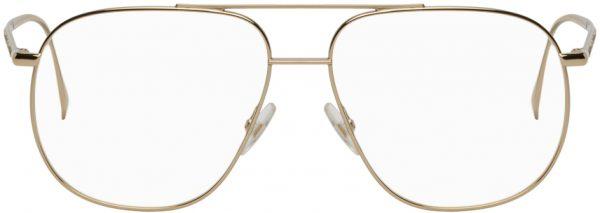 Fendi Gold Steel Aviator Glasses