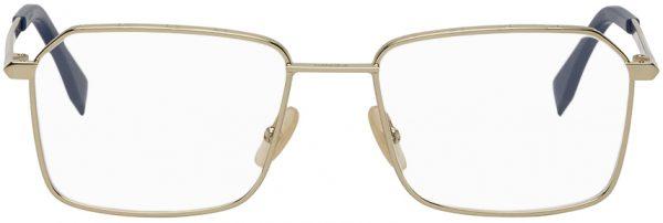 Fendi Gold & Blue 'FF' Rectangular Glasses