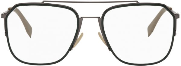 Fendi Green & Gunmetal Square 'Forever Fendi' Glasses