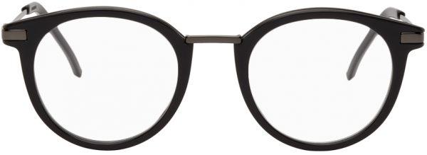 Fendi Grey & Gunmetal Acetate Round Glasses