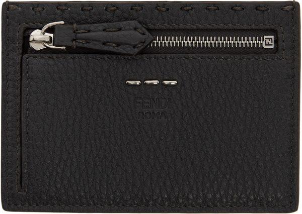 Fendi Grey & Orange Selleria Zip Card Holder