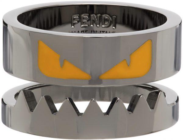 Fendi Gunmetal Bag Bugs Ring