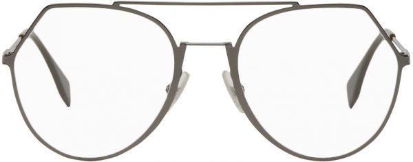 Fendi Gunmetal Modified Aviator Glasses