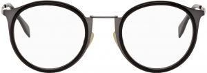 Fendi Gunmetal & Black Modified Oval Glasses