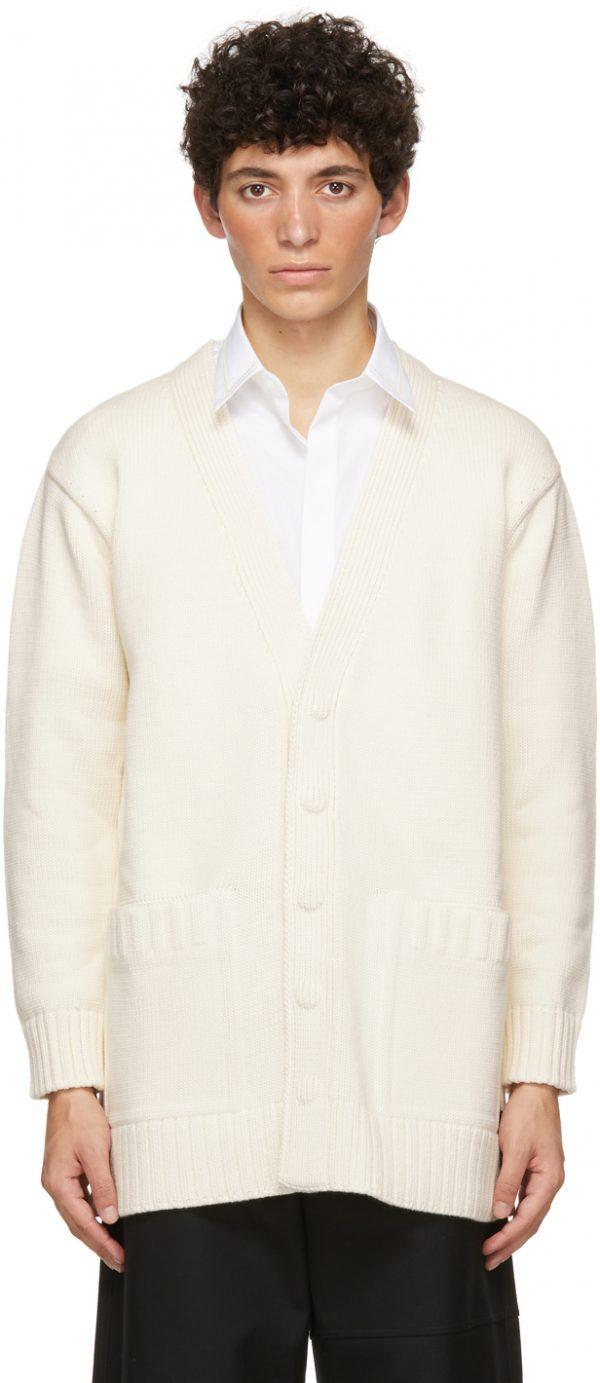Fendi Off-White Knit Logo Cardigan