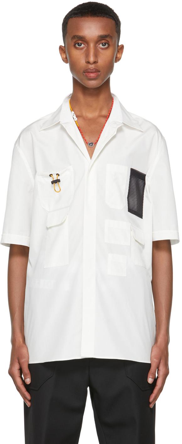 Fendi Off-White Poplin Short Sleeve Shirt