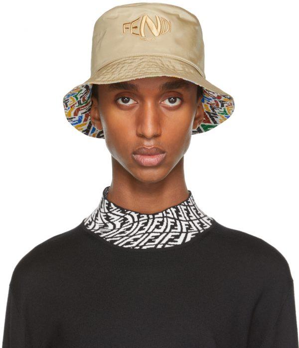 Fendi Reversible Beige & Multicolor FF Fish-Eye Bucket Hat