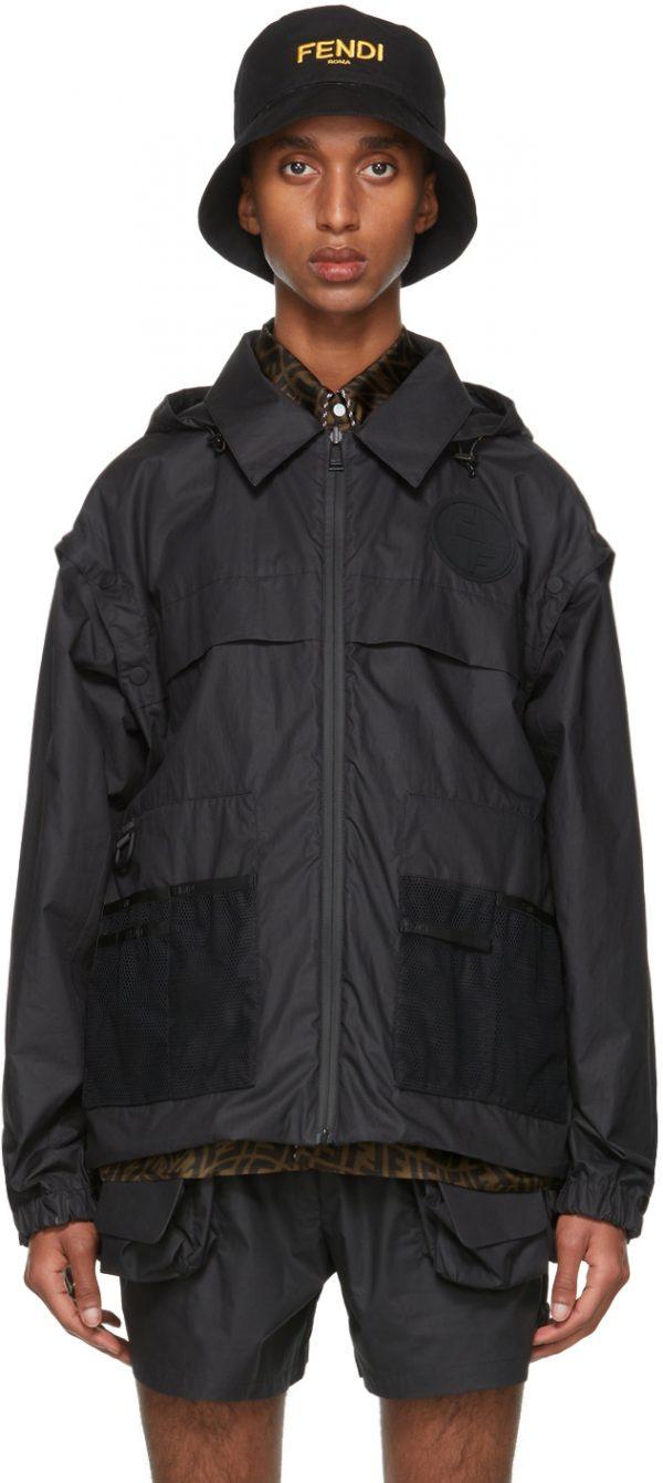 Fendi Reversible Black Coated FF Vertigo Backpack Jacket