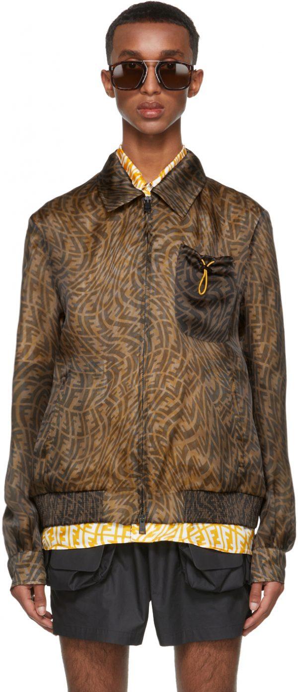 Fendi Reversible Brown Organza FF Vertigo Jacket