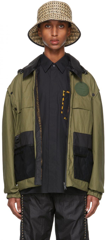 Fendi Reversible Khaki Coated Cotton Backpack Jacket