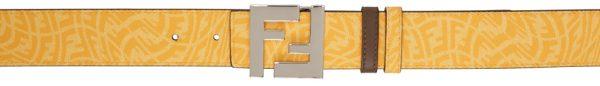 Fendi Reversible Yellow FF Vertigo Belt