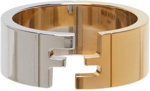 Fendi Silver & Gold 'Forever Fendi' Ring