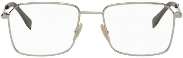 Fendi Silver & Green 'FF' Rectangular Glasses
