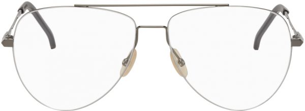 Fendi Silver & Gunmetal Aviator Glasses