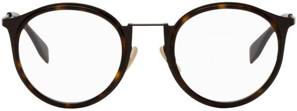 Fendi Tortoiseshell Modified Oval Glasses