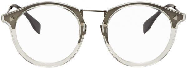 Fendi Transparent & Gunmetal Round 'Forever Fendi' Glasses